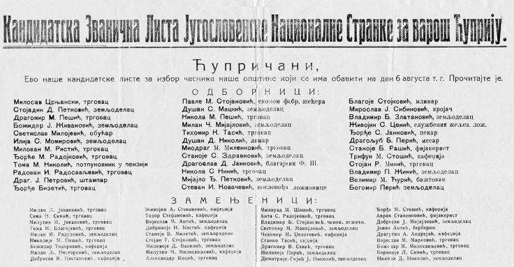 Cuprija 1933 godina stranacka kandidatska lista