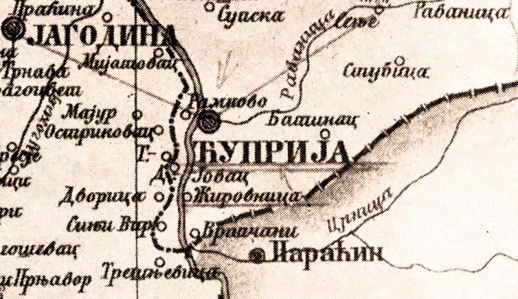 Zirovnica karta 1815 zuto