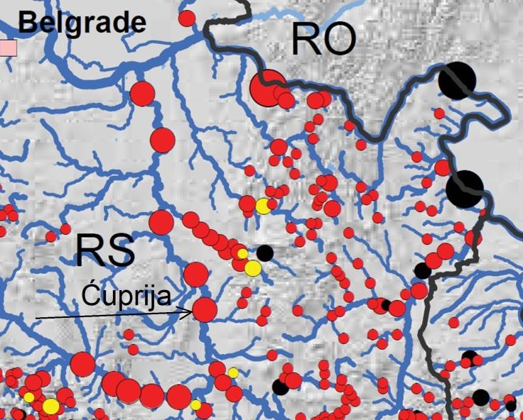 Mapa objekata na rekama Ćuprija