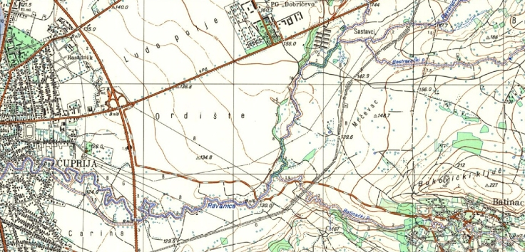 Mrcevac topografska karta