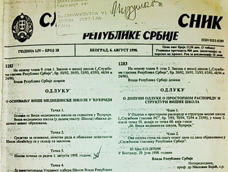 Sl Glasnik RS 1998 odluka