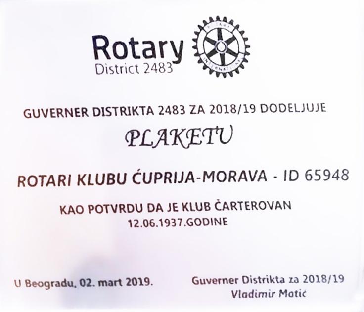Rotary povelja 1937