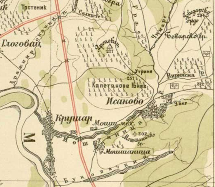 MOSTANICA Detalja sa vojne karte